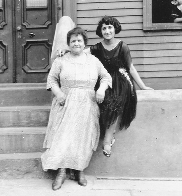 Sarah Esther and her daughter Anne (my great-grandma) outside of their NY home.