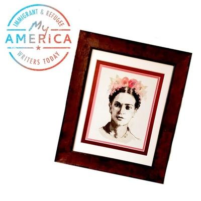 Ligiah's framed Frida Kahlo poster