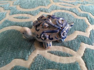 Ceramic sea turtle from Sicily, an island in the Mediterranean Sea. This ceramic reproduces the species of Caretta Caretta turtle