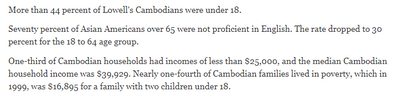 The economic disparity among Cambodian Americans have a long way towards progress, starting with equal education and financial literacy. In America, the poor must attend to their survival before they tend to religion but it does not have to be this way. (Refer to the 4 Noble Truths & Eightfold Path)