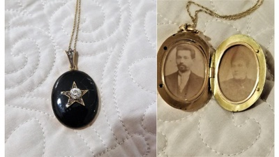 Left: the closed locket. Right: photos of Max and Sarah Esther inside.