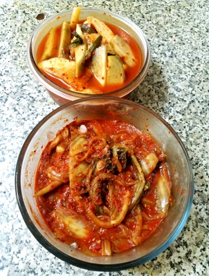 Kimchi (Radish on top, cabbage below)