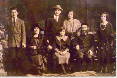 This is a photo of my great-grandpa and great-grandma (top center) with their extended family in America.