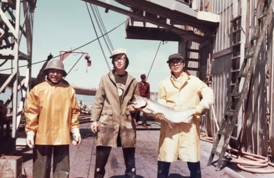 On the deck at Egegik cannery (1972)