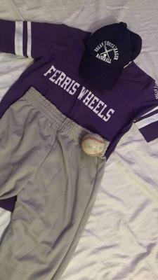 Baseball team jersey,pants,ball.