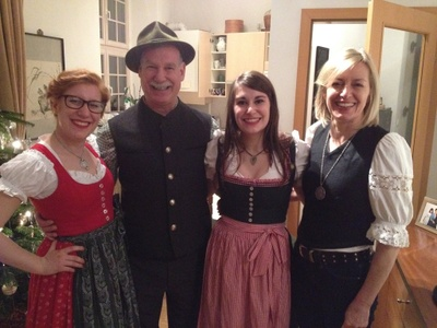 Family in traditional Austrian clothes