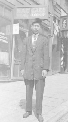 Unidentified man, outside Main Café