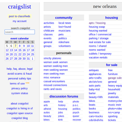 Craigslist New Orleans Homepage