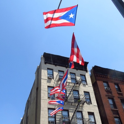 Puerto Rican flags hang from building