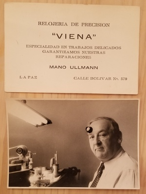 A business card and photo of Mano Ullmann