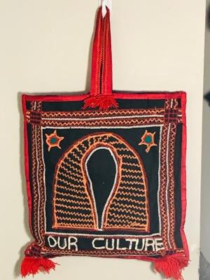 A handbag comprised of toghu.