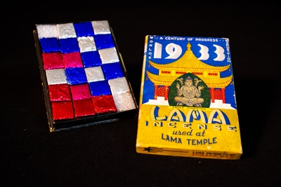 Incense sold at the Lama Temple, a recreation of the Golden Temple of Jehol within the Century of Progress International Exposition, Chicago, 1933. Courtesy of Chinese American Museum of Chicago.