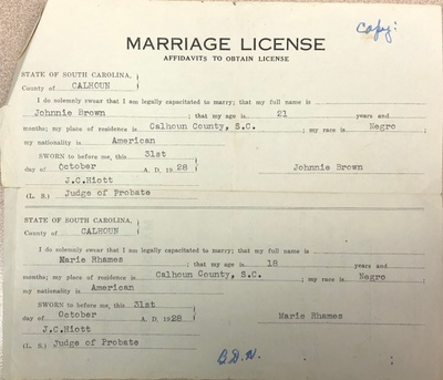 Marriage license from the 1900s