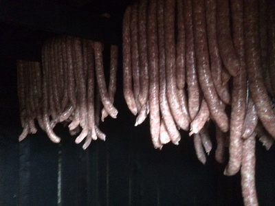 The wurst hanging in the family Smoke House