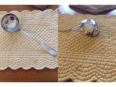 These are photos of the silver ladle. The second photo shows the crack.