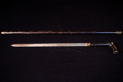 Sword cane belonging to Ah Quin, ca. mid-1800s. Donated to the San Diego Historical Museum by Jeanie Ming. Courtesy of San Diego Chinese Historical Society and Museum.