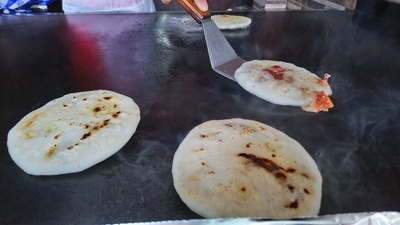Pupusas being made in El Salvador.