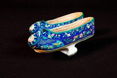 """Manchu Shoes"" (aka horsehoof or flowerpot shoes), ca. 1890. Courtesy of Mai Wah Society. Learn more by visiting: www.maiwah.org."