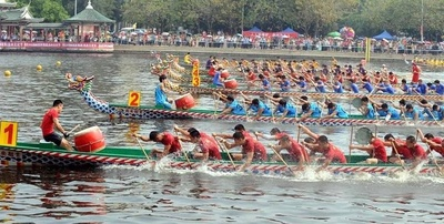 A dragon boat race in a river