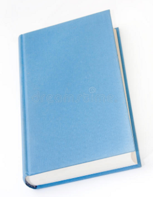 An cookbook with a bright blue color.
