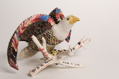 """""""Fly to the Freedom"""" eagle, 1994 Folded paper, papier-mâché, cardboard, glue and colored marker. MOCA Collection 1996.001.049"""