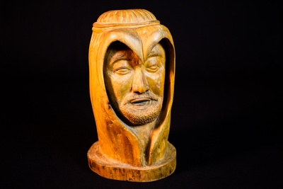 Wooden sculpture of Jesus by artist Jerome Seu, ca. 1975. Courtesy of Mississippi Delta Chinese Heritage Museum.
