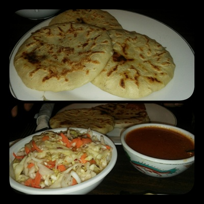 pupusas, tomato salsa, and slaw