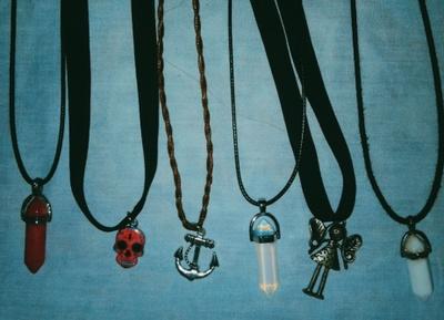 My quartz necklaces.