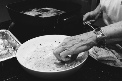 My grandma, Vito's oldest, cooking