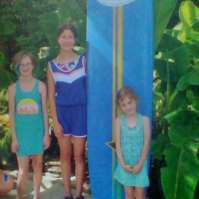 This was Kiara,her little sister and myself at the entrance of a water park we where going to.