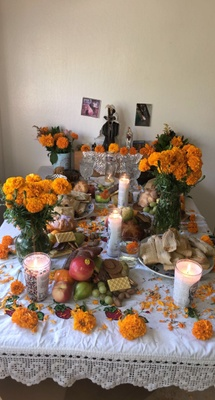Altar with different things
