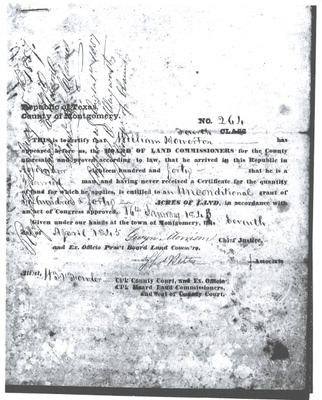 Republic of Texas Certificate