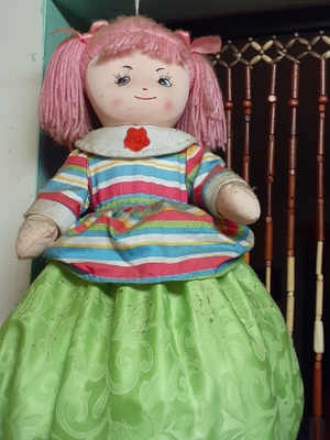 The doll is puffy and round due to bags.