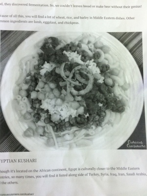 A copy of a recipe for Kushari, an Egyptian dish