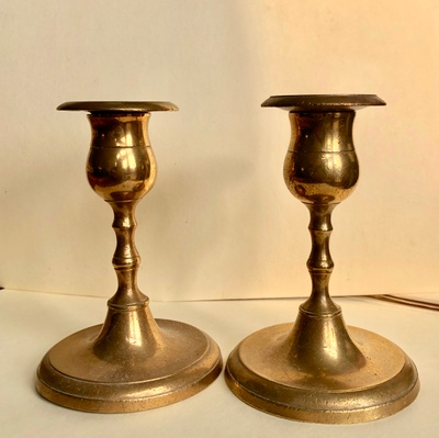 Pair of brass candlesticks from Sweden
