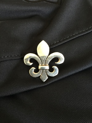 A fleur de lis pin that I bought in 1985 at an antique shop during my first year in New Orleans.