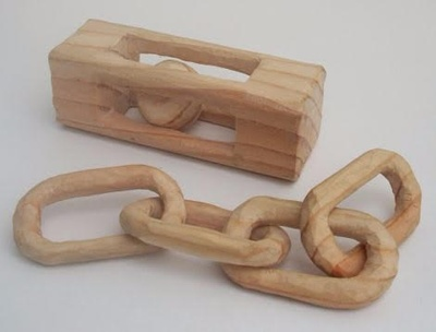 wooden chain and ball in cage