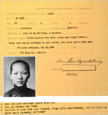 Grandma Ou Shee immigrated in Nov 1920
