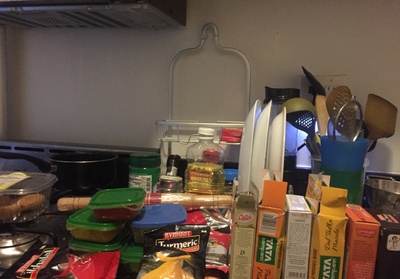 My kitchen at my Union Square apartment is always stacked with spices.
