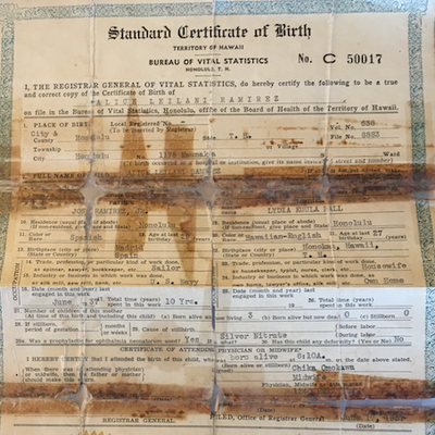 Alice's birth certificate.