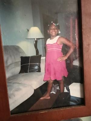 My sister at age 9