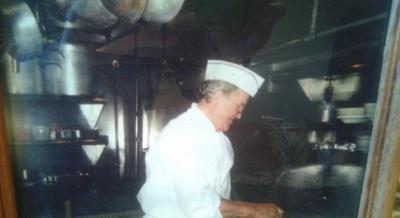 My Grandpa (Pop) cooking in his restaurant