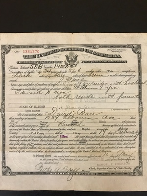 Great-grandfather's citizenship papers