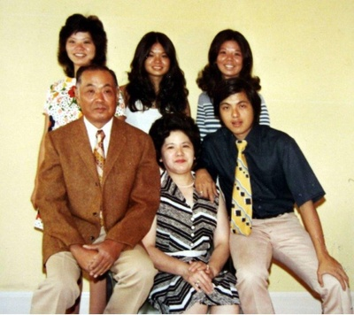 Enomoto family in Fenimore Hotel, 1960s
