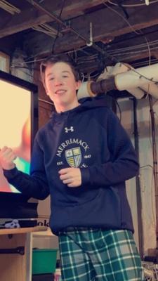 Me wearing my Merrimack college hoodie.