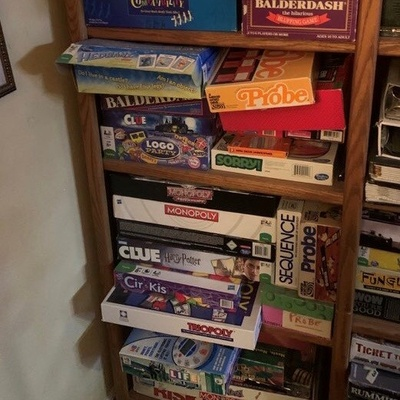 My dad's shelf of board games