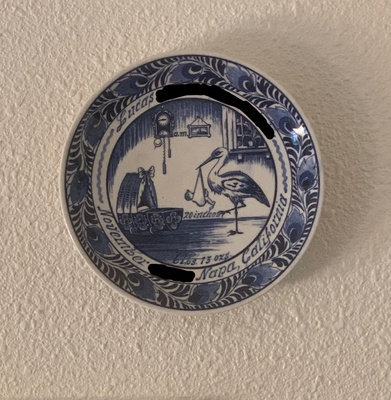 Delft Blue plate depicting my birth-date