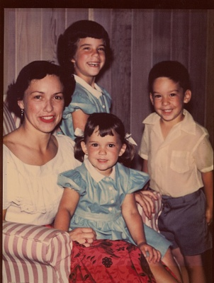 Ruby and her children in 1950s
