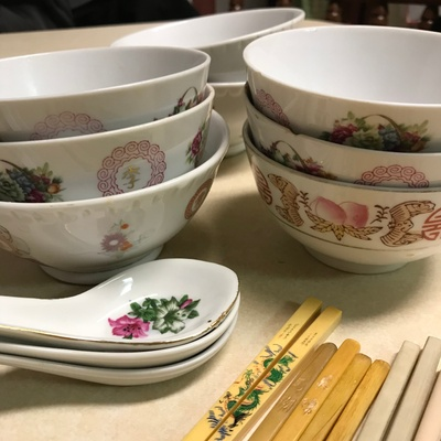 family rice bowls and utensils