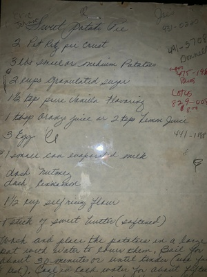 Photo of the handwritten recipe